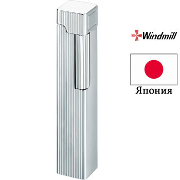 Газовая зажигалка Windmill Square Dia Silver Vertical Lines